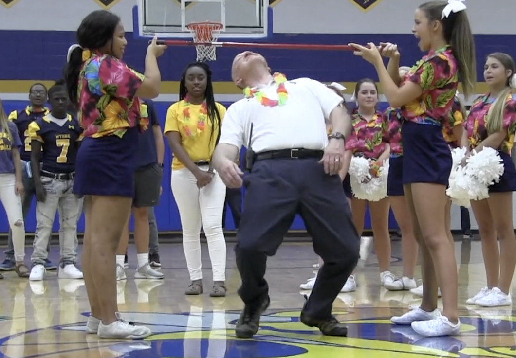 Principal, Keith Watson shows the student body his