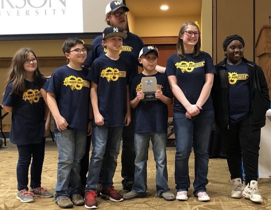 Pictured left to right: Alicia Pintens, Tanner Wilson, Parker King, Sam Vaught, Jennifer Rahl, and Jordyn Rucker Back:  Coach Jason Nichols - 5th Grade Teacher at Wynne Intermediate